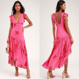 Free People hot pink floral ruffled dress